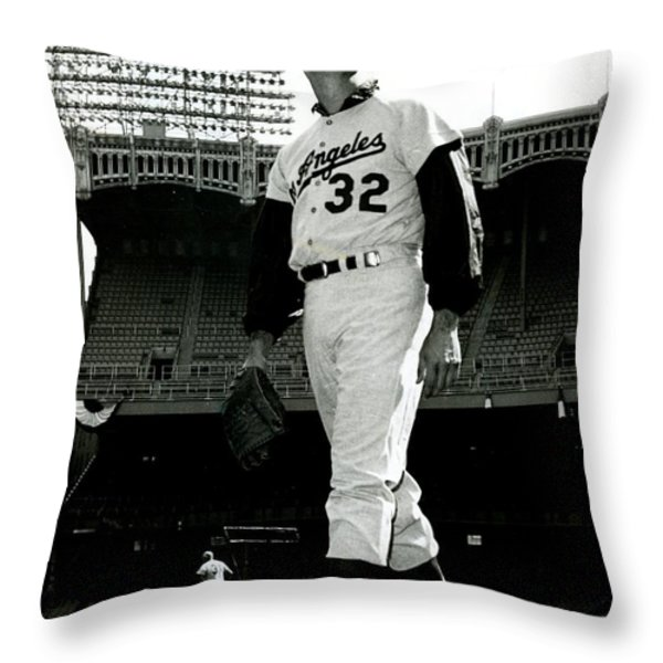Sandy Koufax Vintage Baseball Poster Throw Pillow by Gianfranco Weiss