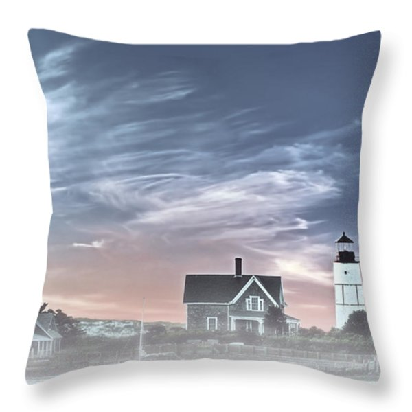 Sandy Neck Lighthouse Throw Pillow by Susan Candelario