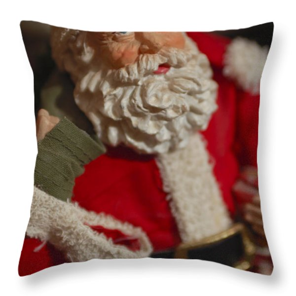 Santa Claus - Antique Ornament - 02 Throw Pillow by Jill Reger