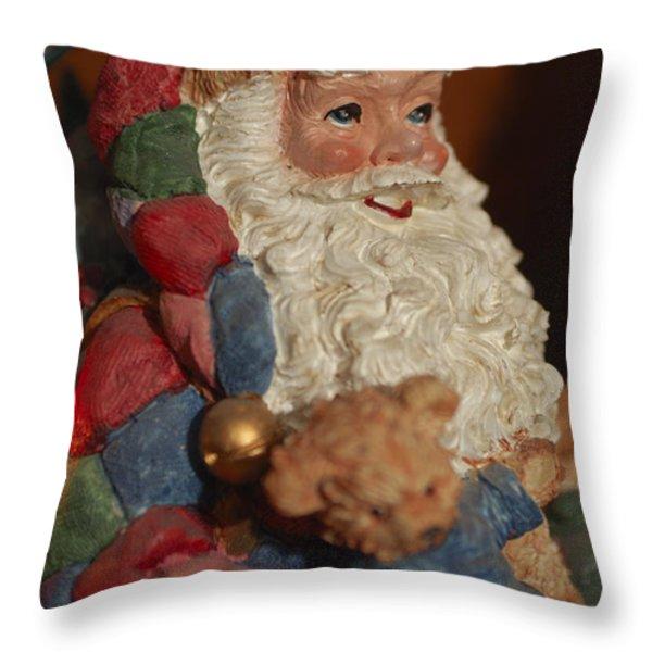Santa Claus - Antique Ornament - 03 Throw Pillow by Jill Reger