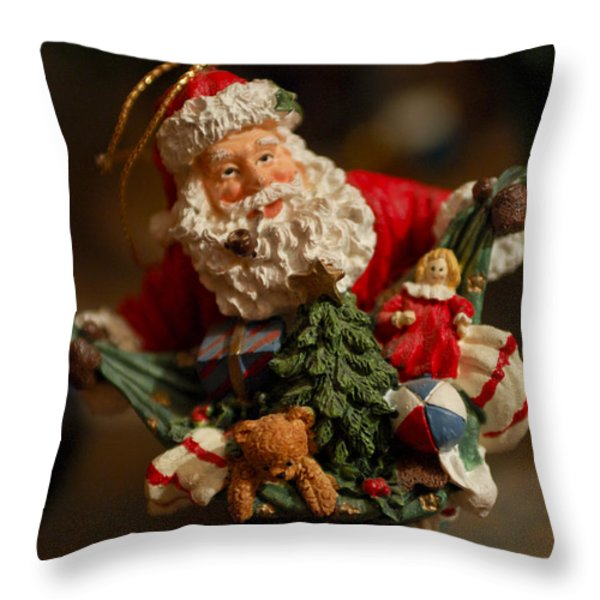 Santa Claus - Antique Ornament - 04 Throw Pillow by Jill Reger