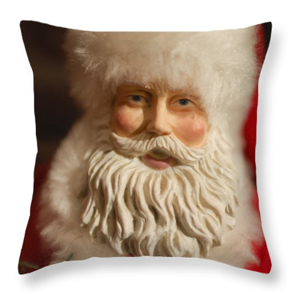 Santa Claus - Antique Ornament - 07 Throw Pillow by Jill Reger