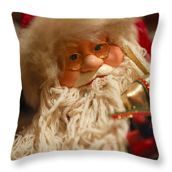 Santa Claus - Antique Ornament - 08 Throw Pillow by Jill Reger