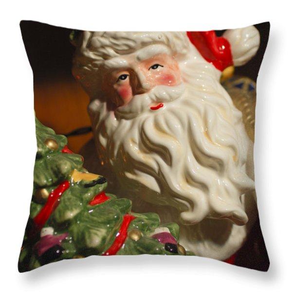 Santa Claus - Antique Ornament - 10 Throw Pillow by Jill Reger
