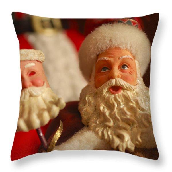 Santa Claus - Antique Ornament - 12 Throw Pillow by Jill Reger