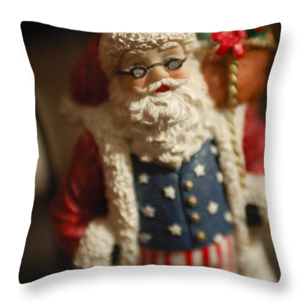 Santa Claus - Antique Ornament - 15 Throw Pillow by Jill Reger