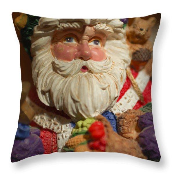 Santa Claus - Antique Ornament - 20 Throw Pillow by Jill Reger