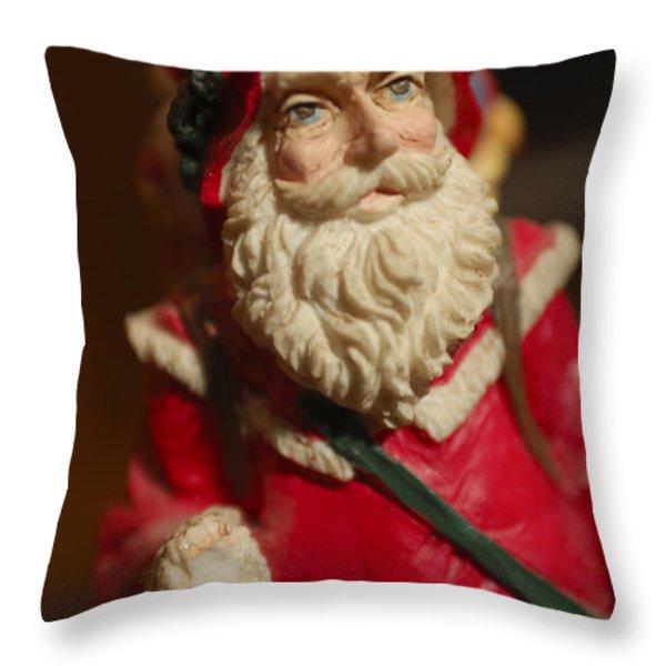 Santa Claus - Antique Ornament - 21 Throw Pillow by Jill Reger