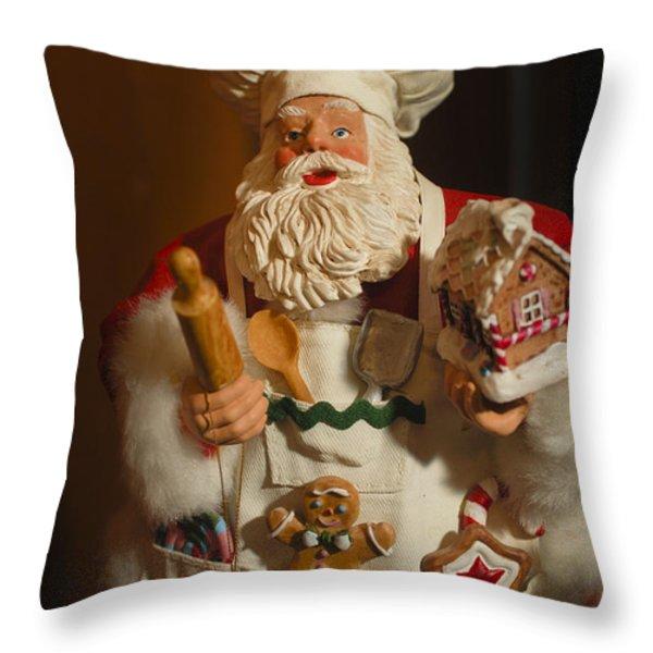 Santa Claus - Antique Ornament - 22 Throw Pillow by Jill Reger
