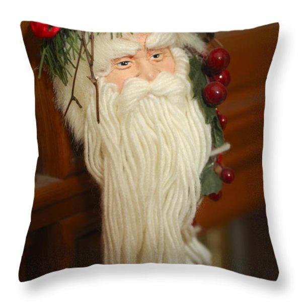 Santa Claus - Antique Ornament - 29 Throw Pillow by Jill Reger