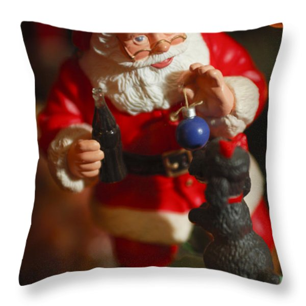 Santa Claus - Antique Ornament - 33 Throw Pillow by Jill Reger