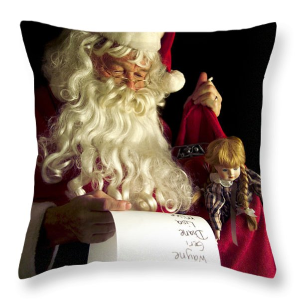 Santa Claus Throw Pillow by Diane Diederich