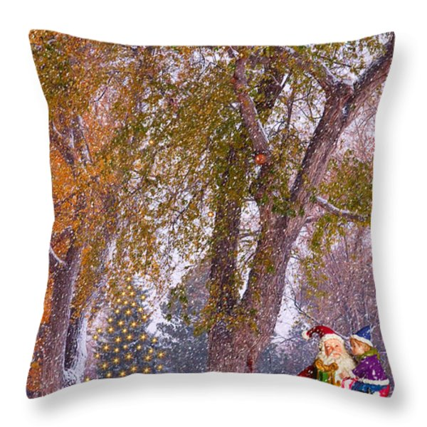 Santa Claus In the Snow Throw Pillow by James BO  Insogna