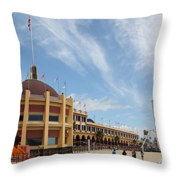 Santa Cruz Beach Boardwalk California 5D23748 Throw Pillow by Wingsdomain Art and Photography
