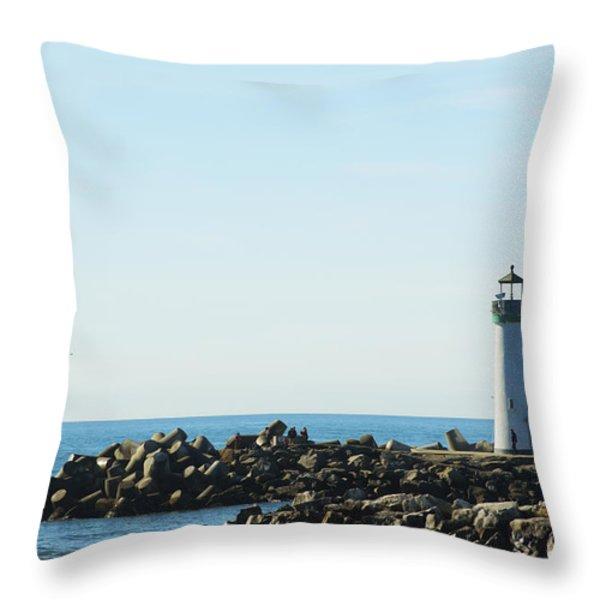 Santa Cruz California Lighthouse Throw Pillow by Barbara Snyder