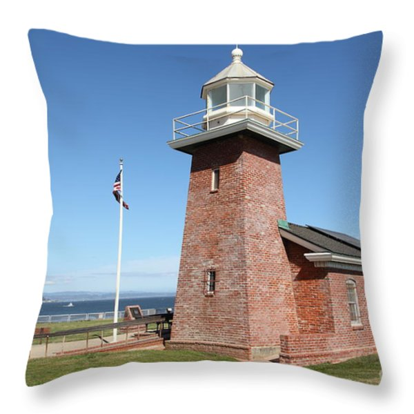 Santa Cruz Lighthouse Surfing Museum California 5d23936 Throw Pillow by Wingsdomain Art and Photography