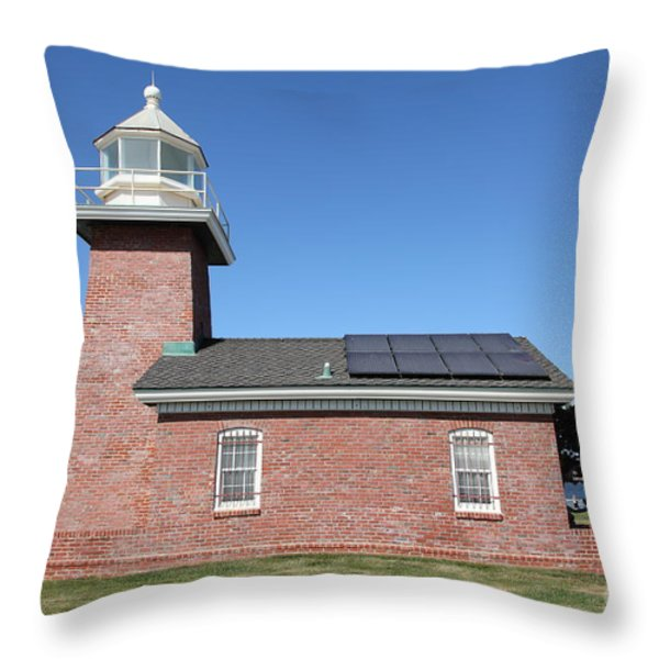 Santa Cruz Lighthouse Surfing Museum California 5d23942 Throw Pillow by Wingsdomain Art and Photography
