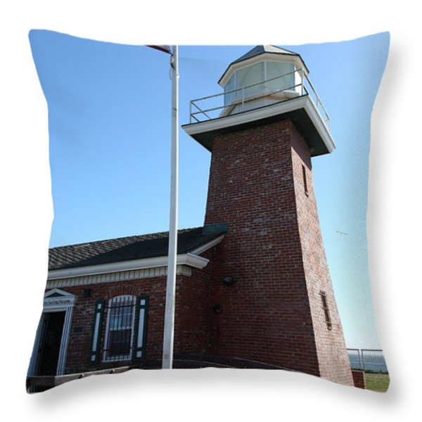 Santa Cruz Lighthouse Surfing Museum California 5d23948 Throw Pillow by Wingsdomain Art and Photography