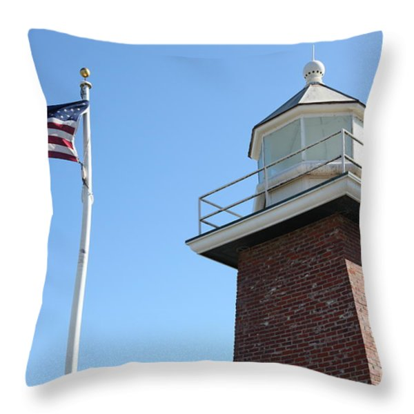 Santa Cruz Lighthouse Surfing Museum California 5d23951 Throw Pillow by Wingsdomain Art and Photography