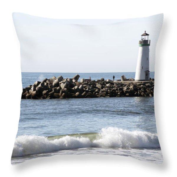 Santa Cruz Lighthouse Wave Wide Throw Pillow by Barbara Snyder