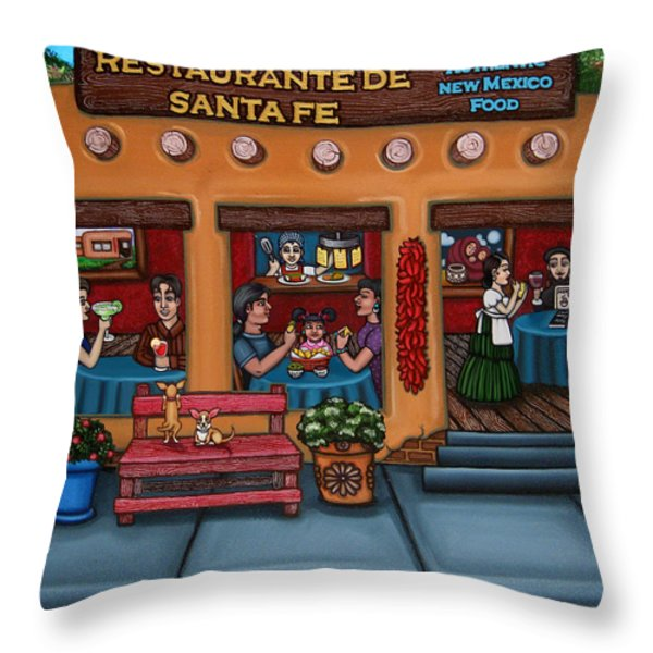 Santa Fe Restaurant Throw Pillow by Victoria De Almeida