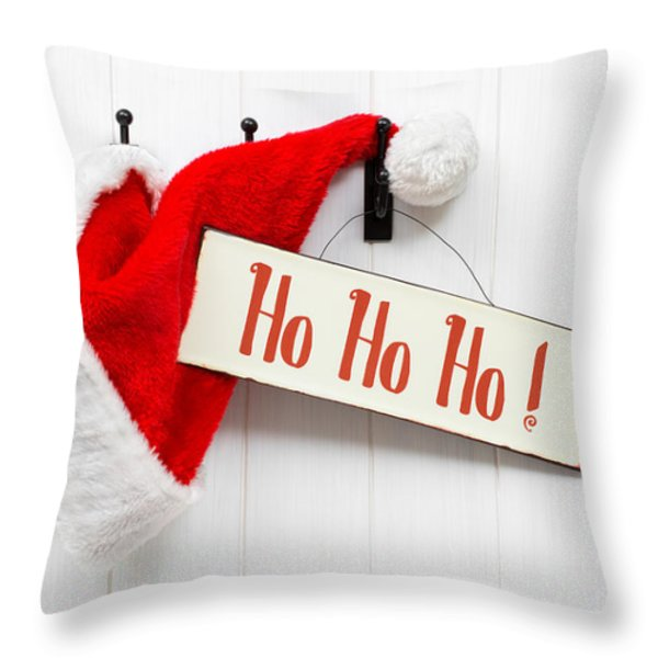 Santa Hat and Sign Throw Pillow by Amanda And Christopher Elwell