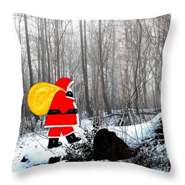 Santa In Christmas Woodlands Throw Pillow by Patrick J Murphy