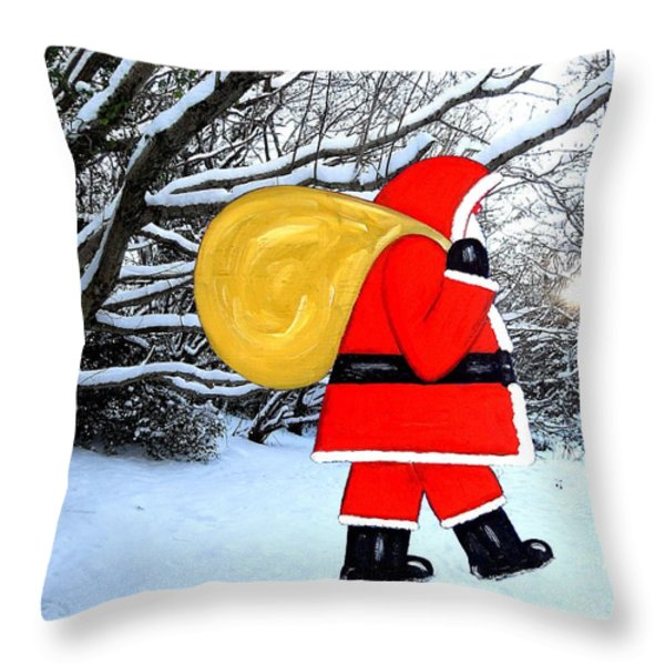 SANTA IN WINTER WONDERLAND Throw Pillow by Patrick J Murphy