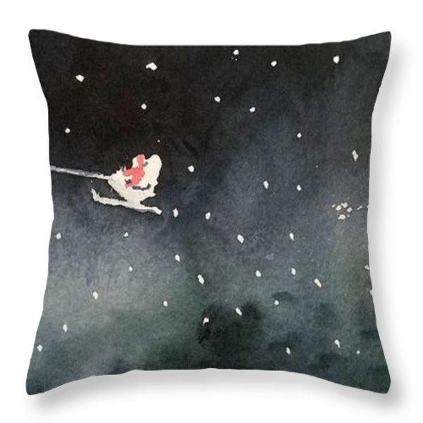 Santa is Coming Throw Pillow by Yoshiko Mishina
