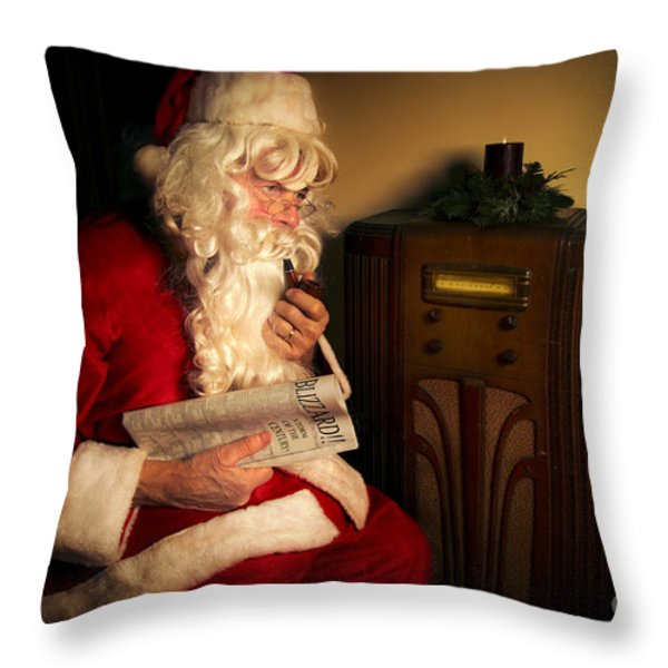 Santa Listening to the Weather Report Throw Pillow by Diane Diederich