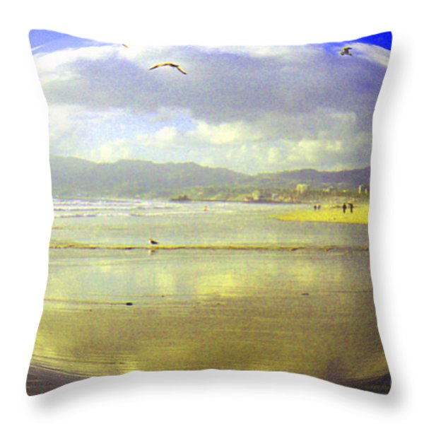 Santa Monica Beach Throw Pillow by Jerome Stumphauzer