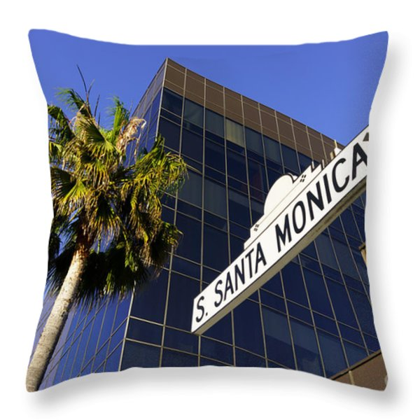 Santa Monica Blvd Sign In Beverly Hills California Throw Pillow by Paul Velgos