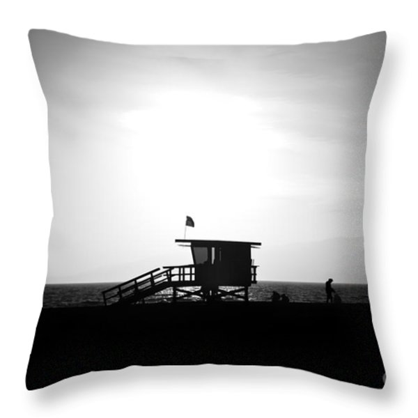 Santa Monica Lifeguard Tower in Black and White Throw Pillow by Paul Velgos