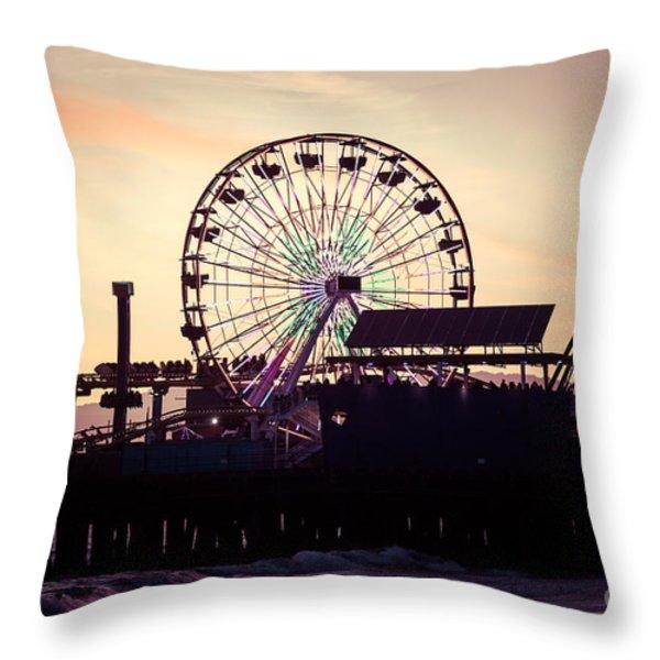 Santa Monica Pier Ferris Wheel Retro Photo Throw Pillow by Paul Velgos