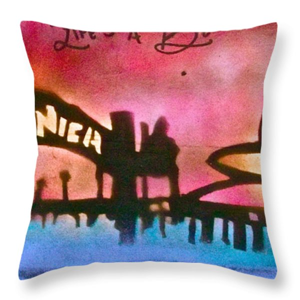 Santa Monica Pier Red Throw Pillow by Tony B Conscious
