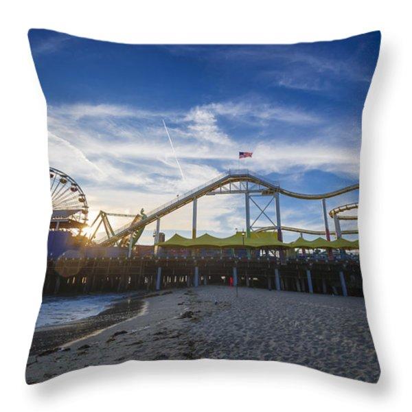 Santa Monica Pier Rides No Swimming Beach Throw Pillow by Scott Campbell
