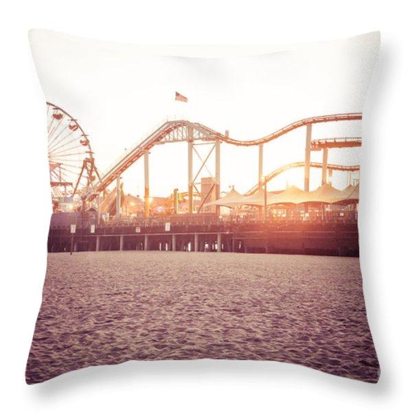 Santa Monica Pier Roller Coaster Retro Photo Throw Pillow by Paul Velgos