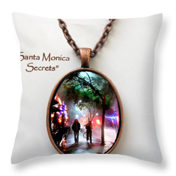Santa Monica Secrets-custom Pendant Throw Pillow by Jennie Breeze