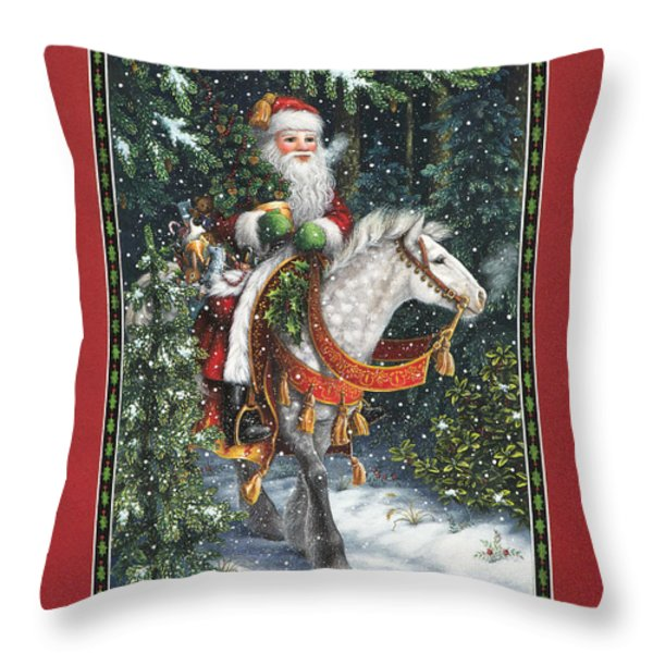 Santa of the Northern Forest Throw Pillow by Lynn Bywaters