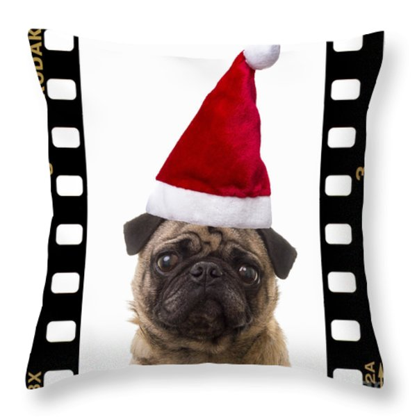 Santa Pug - Canine Christmas Throw Pillow by Edward Fielding