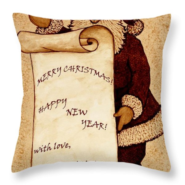 Santa Wishes Digital Art Throw Pillow by Georgeta  Blanaru
