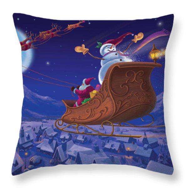 Santa's Helper Throw Pillow by Michael Humphries