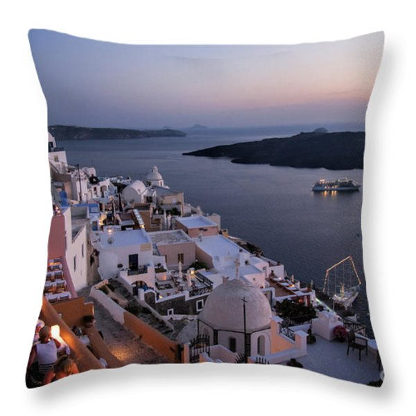 Santorini At Dusk Throw Pillow by David Smith