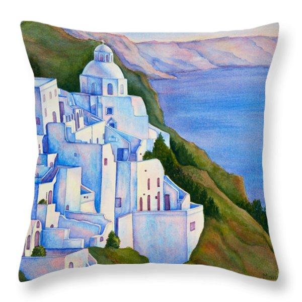 Santorini Greece Watercolor Throw Pillow by Michelle Wiarda