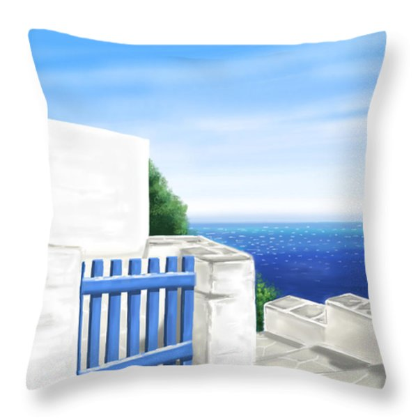 Santorini Throw Pillow by Veronica Minozzi