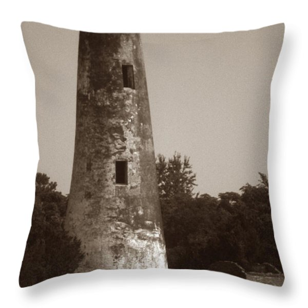 SAPELO ISLAND LIGHTHOUSE Throw Pillow by Skip Willits