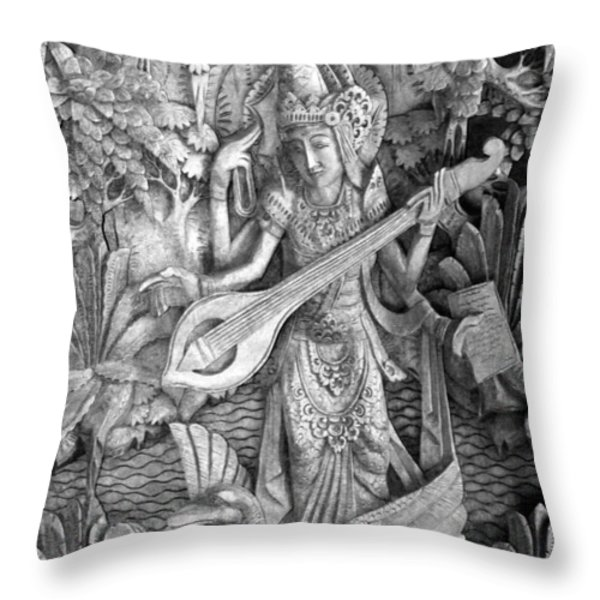Saraswati - Supreme Goddess Throw Pillow by Karon Melillo DeVega