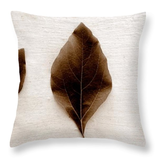 Sassafras Leaves In Sepia Throw Pillow by Michelle Calkins