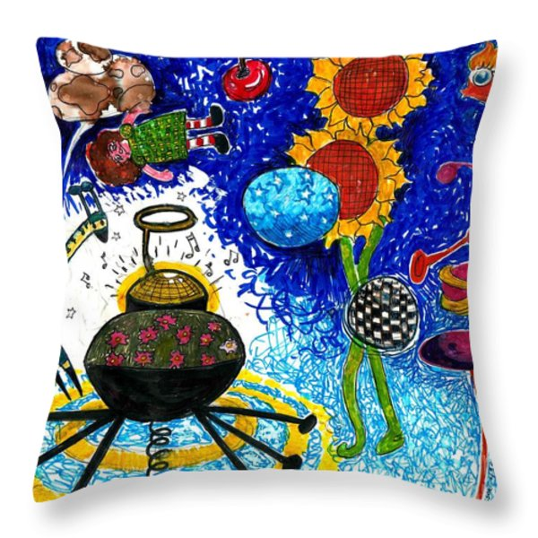 Satelite Critters Throw Pillow by Genevieve Esson