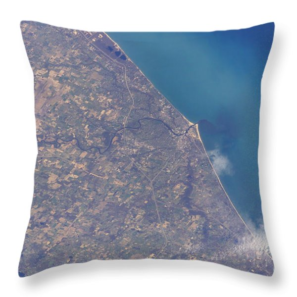 Satellite View Of St. Joseph Area Throw Pillow by Stocktrek Images